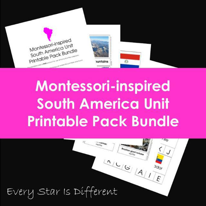Every Star Is Different Montessori-Inspired South America Unit Printable Pack Bundle