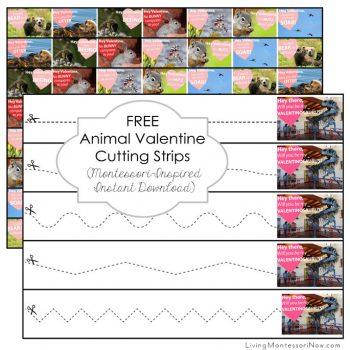 Free Animal Valentine Cutting Strips