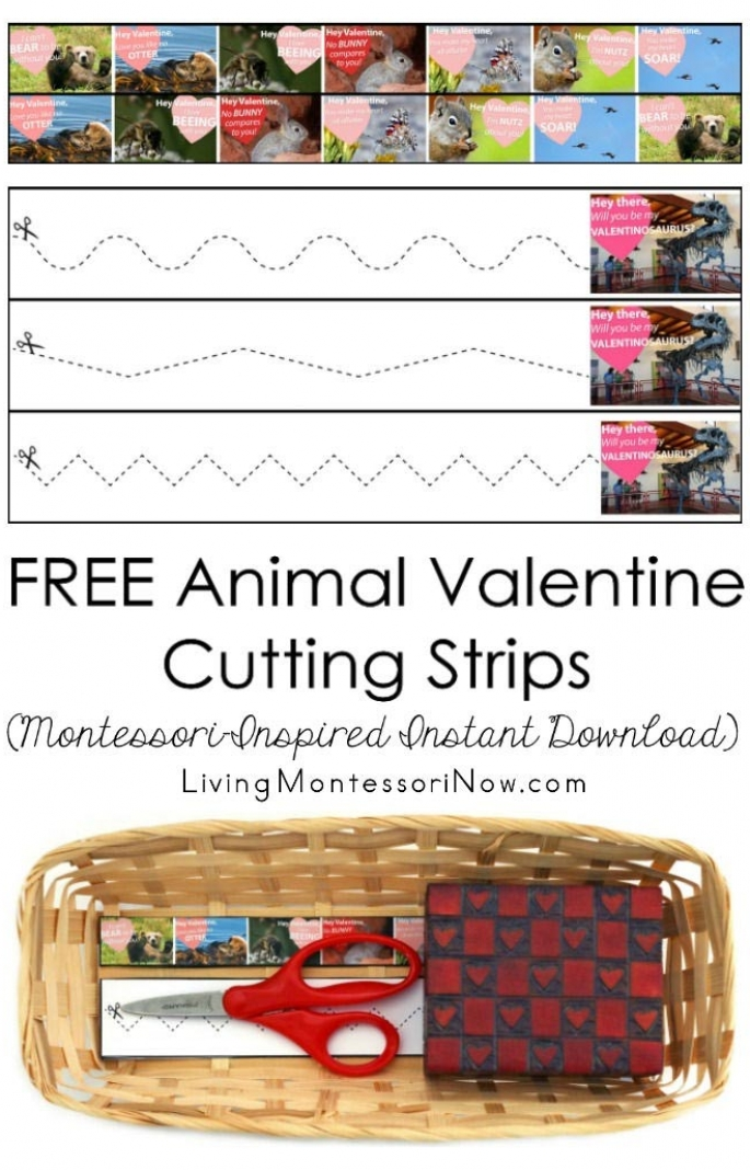 FREE Animal Valentine Cutting Strips (Montessori-Inspired Instant Download)