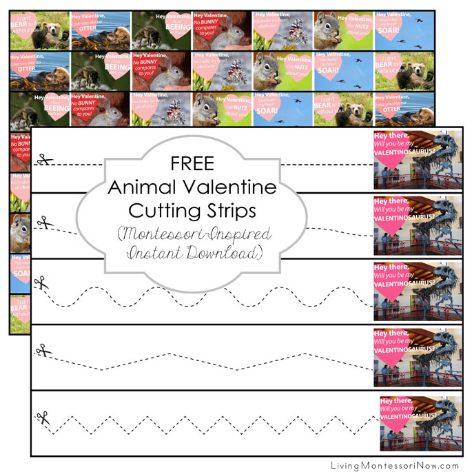 FREE Animal Valentine Cutting Strips