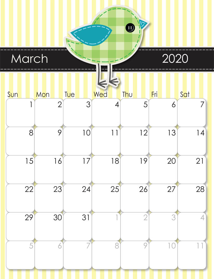 March 2020 Calendar from iMom
