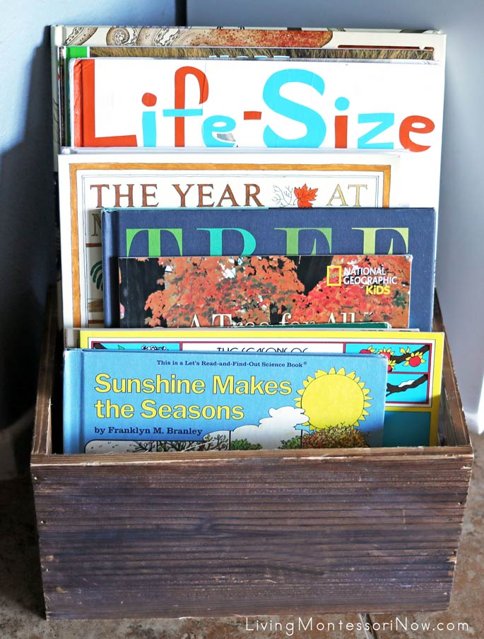 Montessori Book Basket with Books Mainly about Seasons