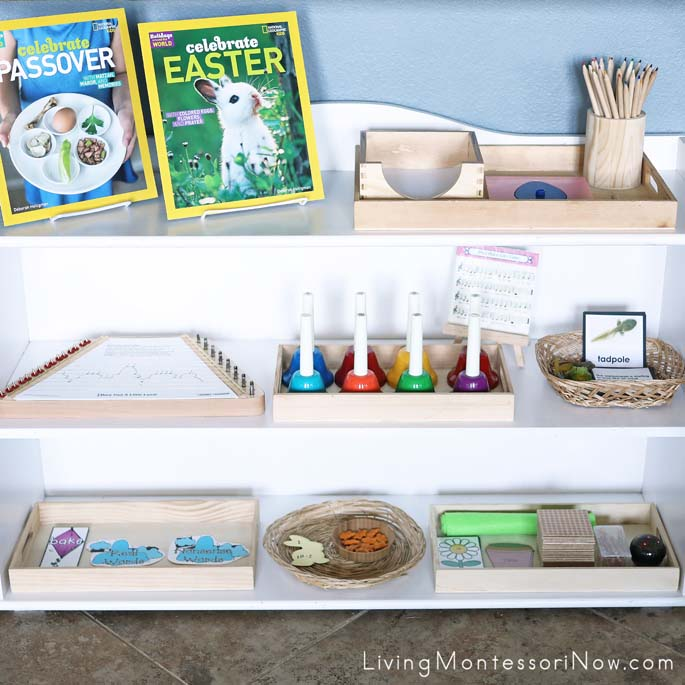 Montessori Shelves with a Mini Spring Theme