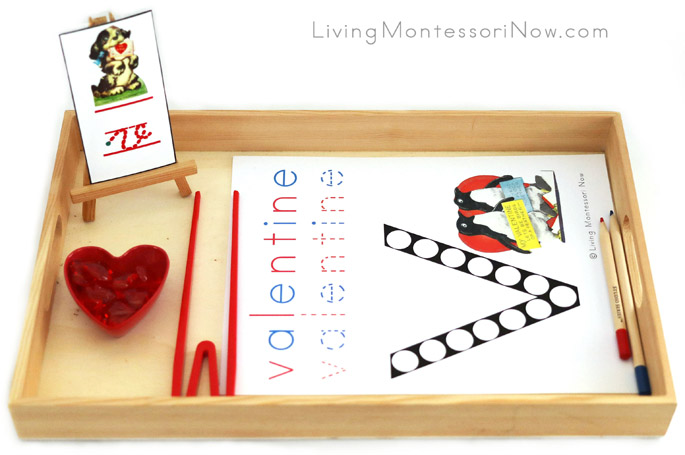 Tray with V for Valentine Printable and Heart Transfer