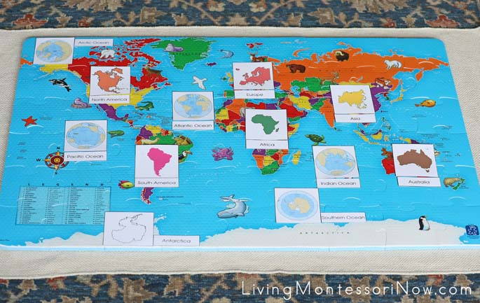 photograph regarding Printable Continents and Oceans titled Montessori Continents and Oceans Printables for Preschool