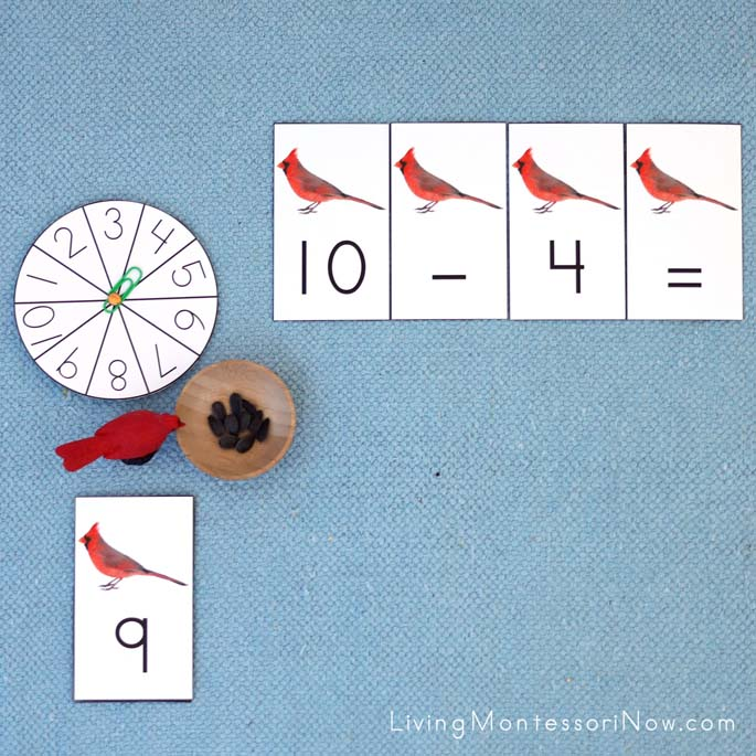 Cardinal and Sunflower Seed Subtraction Layout