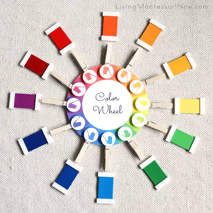 Color Wheel Using Spring Bundle and Montessori Color Tablets