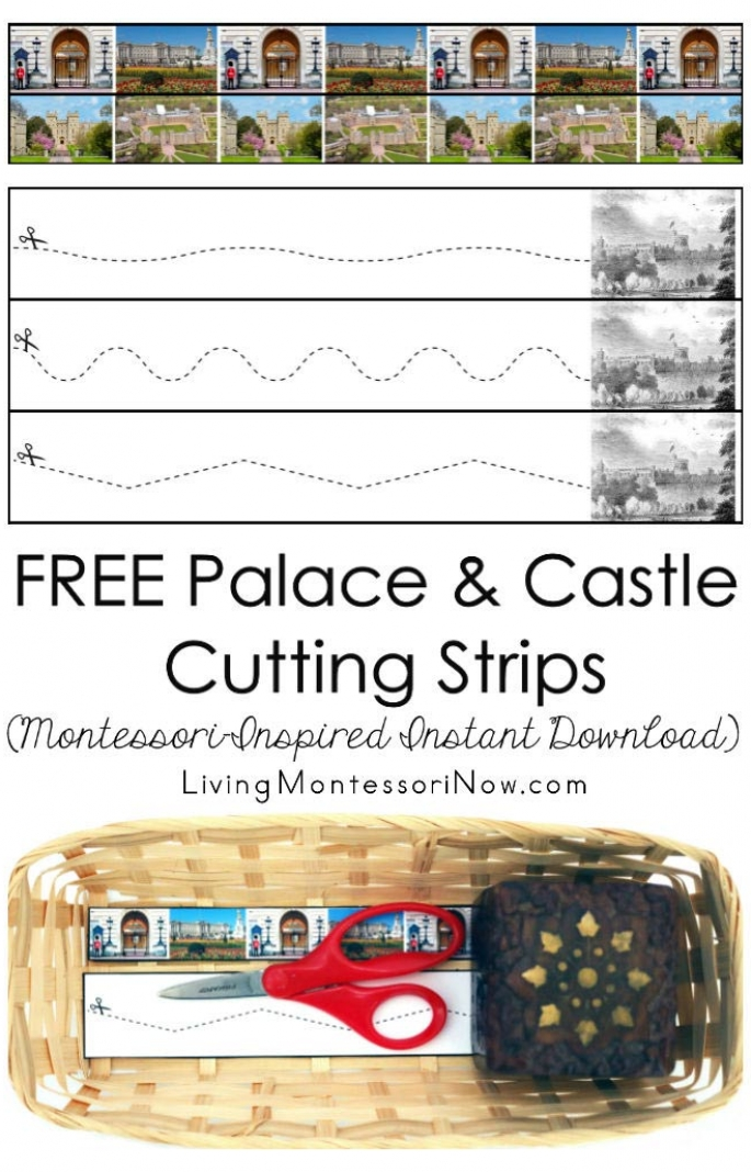 FREE Palace and Castle Cutting Strips (Montessori-Inspired Cutting Strips)