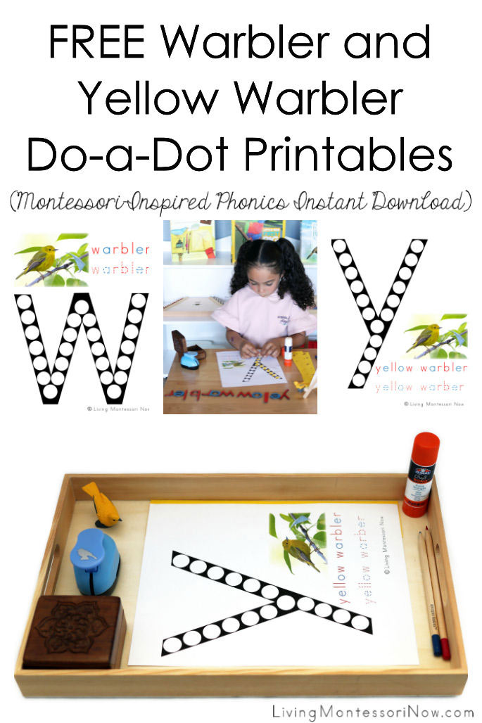 FREE Warbler and Yellow Warbler Do-a-Dot Printables (Montessori-Inspired Phonics Instant Download)
