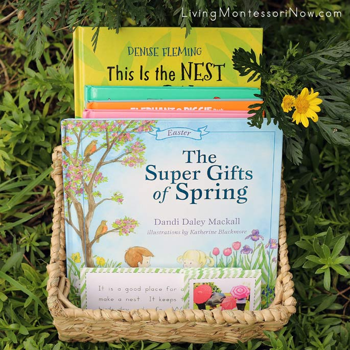 Spring Question Game with Spring Book Basket for Outdoors