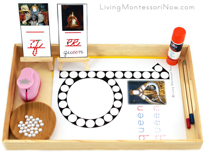 Tray with Q for Queen Do-a-Dot Printable and Crown Punch with Gems