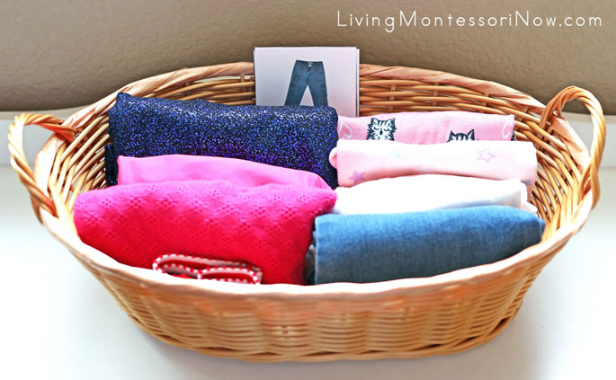 Clothes Basket with Folded Clothing to Match Montessori Clothing Classified Cards