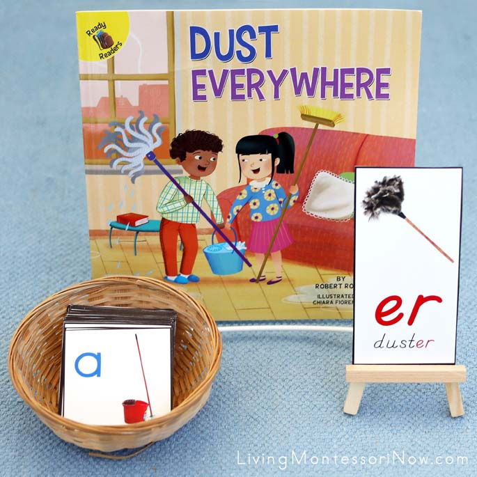 Dust Everywhere Book with Mop and Bucket Movable Alphabet Cards and Duster er Phonogram Card
