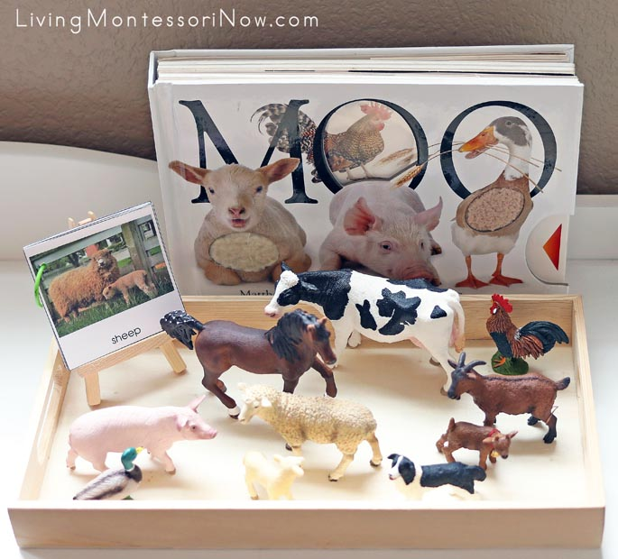 Farm Animals Classified Cards Made into a Booklet with Schleich Farm Animals and Moo Book
