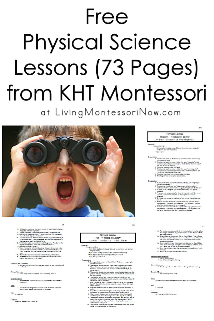 Free Physical Science Lessons (73 Pages) from KHT Montessori