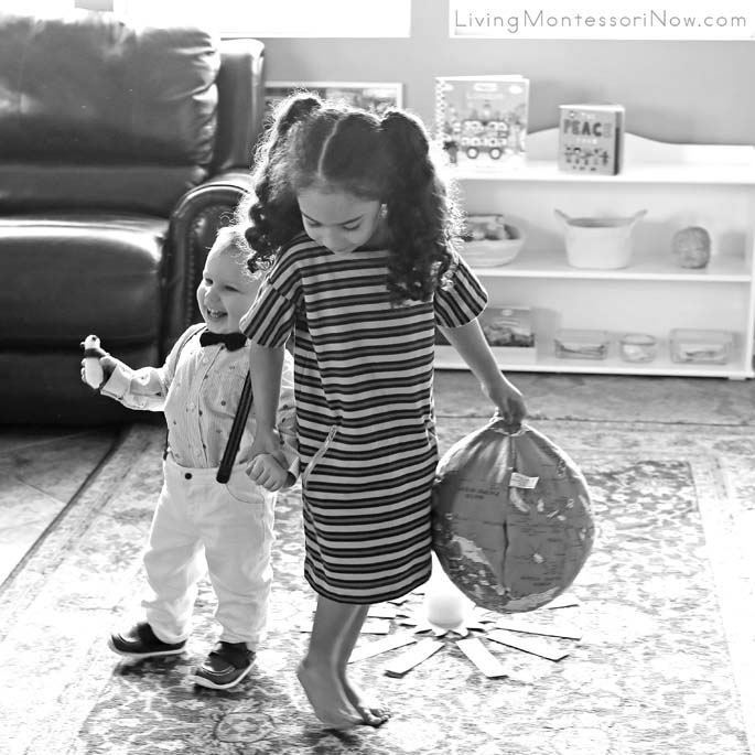 Getting Cousin Direction for a One-Year-Old Montessori Birthday Walk