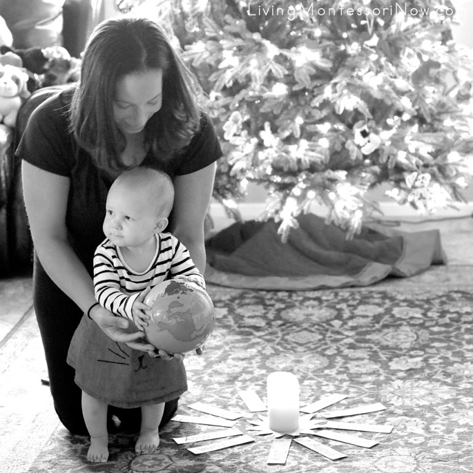 Getting Mommy Direction for a One-Year-Old Montessori Birthday Walk