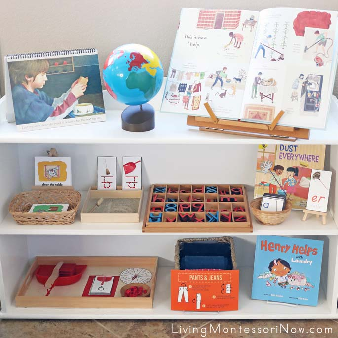 Montessori Shelves with Cleaning and Tidying Themed Activities
