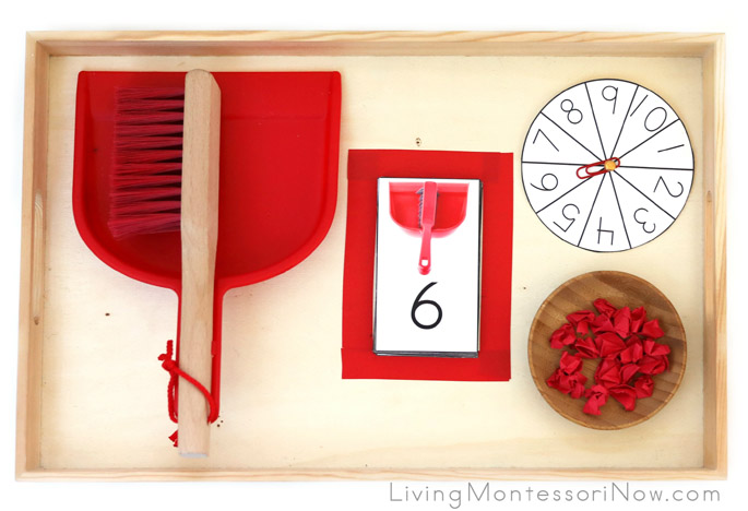 Montessori-Style Sweeping Paper Scraps Number or Addition Game
