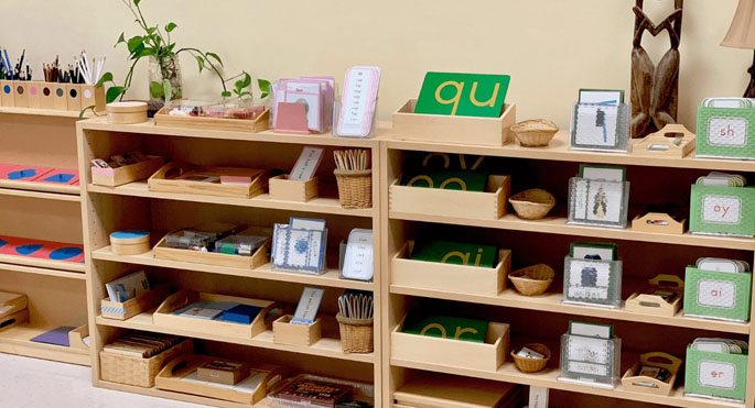 Reading Shelves Featured in the Phonetic Reading Workshop with Seemi of Trillium Montessori