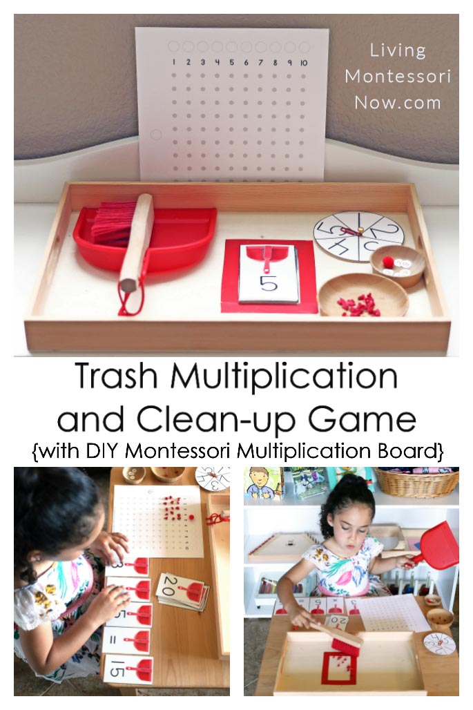 Montessori-Inspired Trash Multiplication Game Tray with Easy DIY Multiplication Board