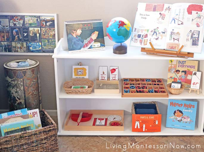 Book Basket and Montessori Shelves with Cleaning and Tidying Activities