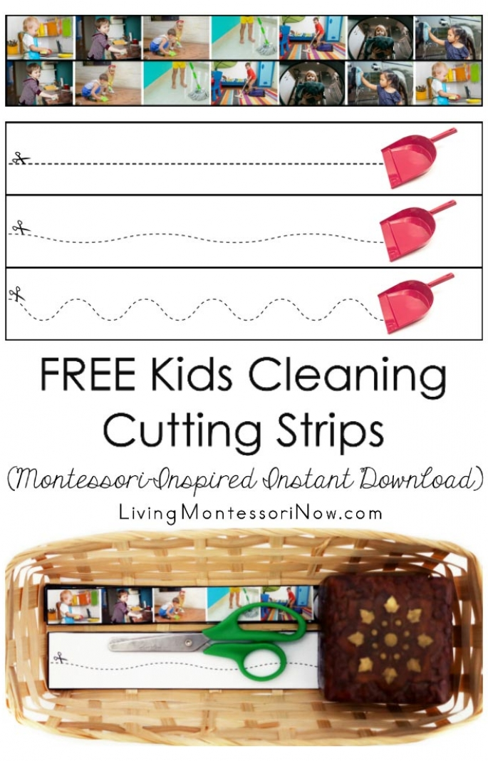 FREE Kids Cleaning Cutting Strips (Montessori-Inspired Instant Download)