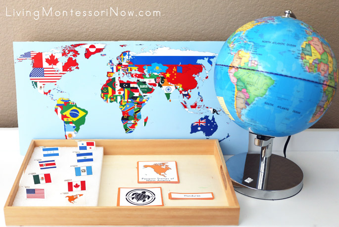 Flag Map with North America Flags and Passport Stamp 3-Part Cards