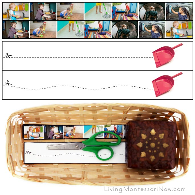 Kids Cleaning Cutting Strips with Basket