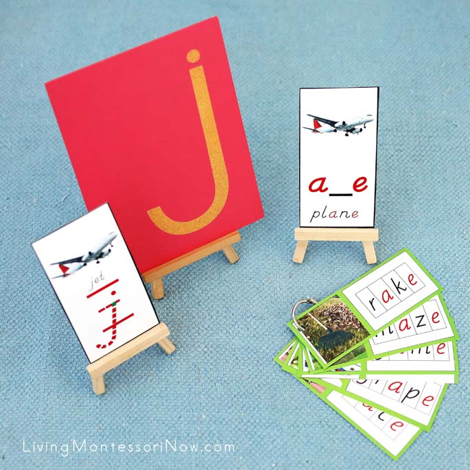 Letter J Sandpaper Letter with J for Jet Font Card and a_e Plane Phonogram Activity
