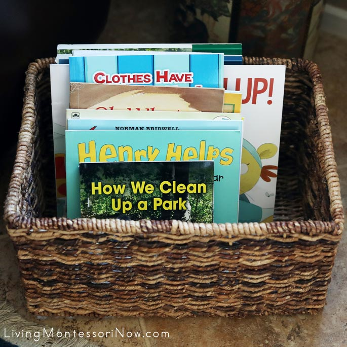 Montessori Book Basket with Cleaning and Tidying Books