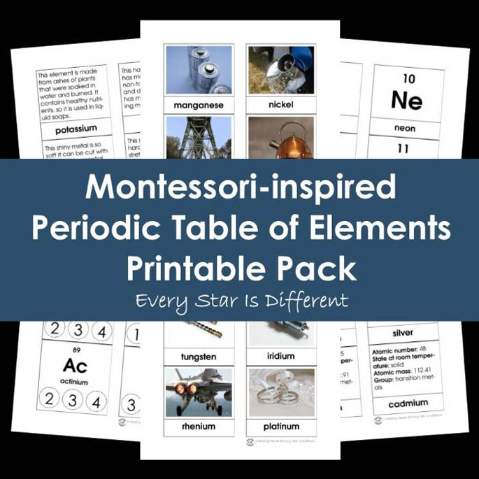 Montessori-Inspired Periodic Table of Elements Printable Pack from Every Star Is Different