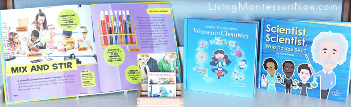 Montessori Shelf with Science Books and Intro to Chemistry Nomenclature Cards