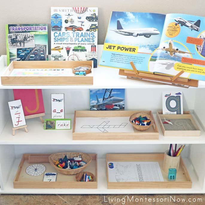 Montessori Shelves with Travel-Themed Activities