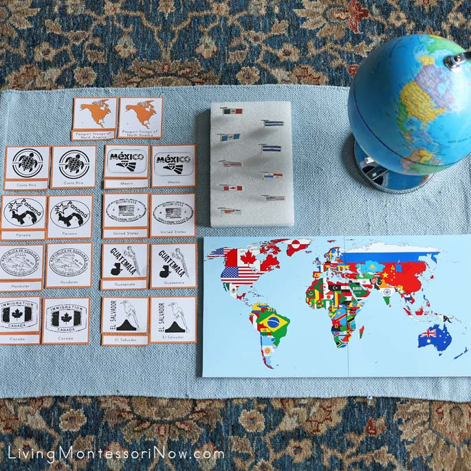 North America Passport Stamp 3-Part Cards with Flag Pins for Pin Map