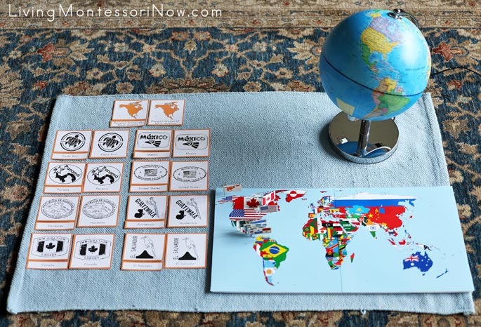 North America Passport Stamp 3-Part Cards with Pin Map and Flag
