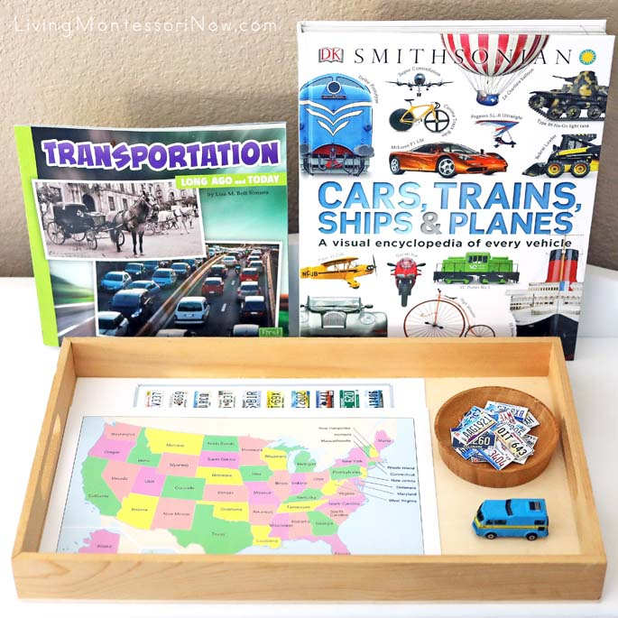 Transportation Books with License Plate Game Tray