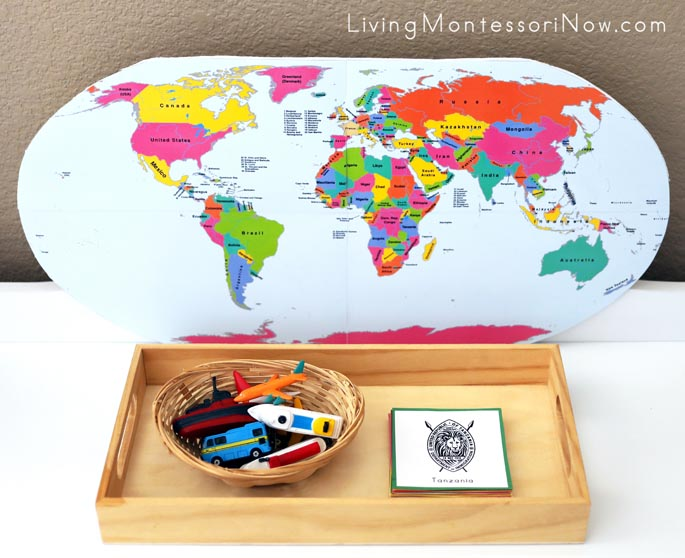 World Travel Game with World Political Map and Passport Stamp Cards