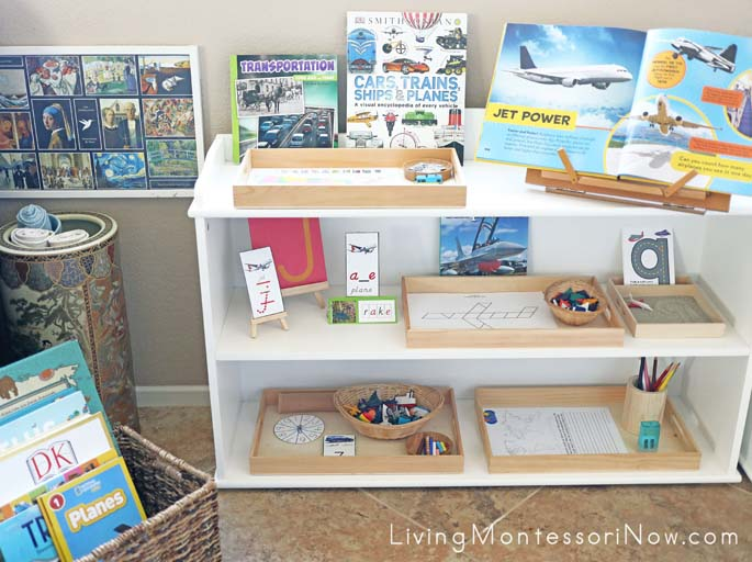 Book Basket and Montessori Shelves with Travel-Themed Activities