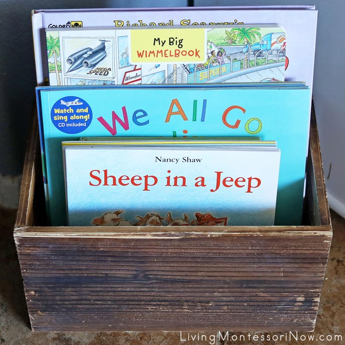 Book Basket with Fiction Transportation and Travel Books
