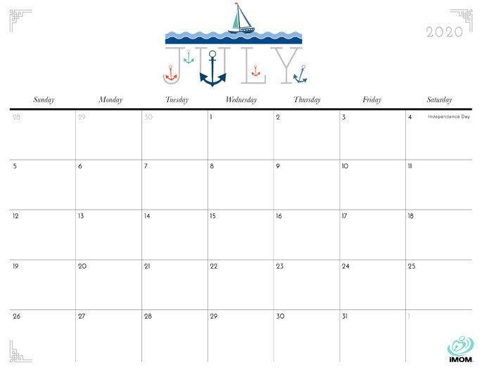 July 2020 Calendar from iMom