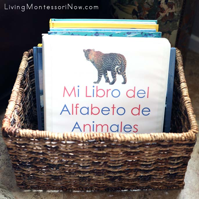 Mi Libro del Alfabeto de Animales (My Animal Alphabet Book) in a Montessori Book Basket