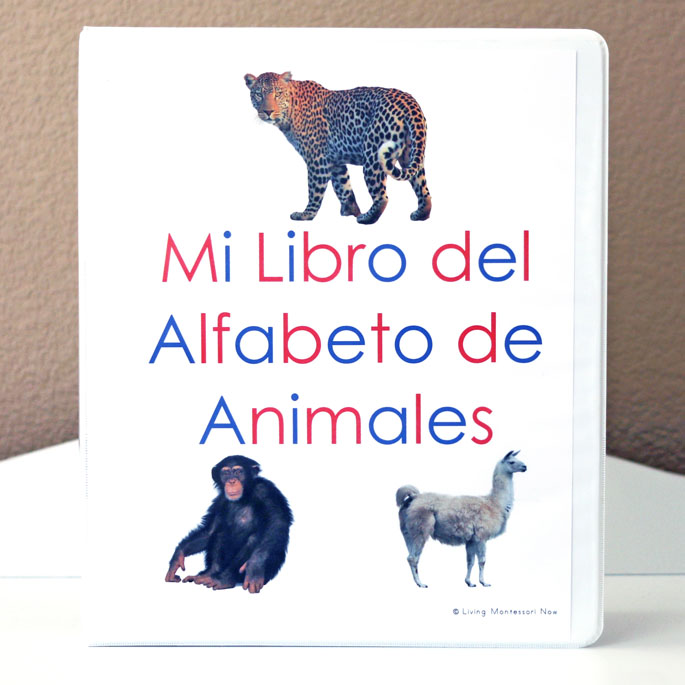 Mi Libro del Alfabeto de Animales (My Animal Alphabet Book) on a Montessori Shelf