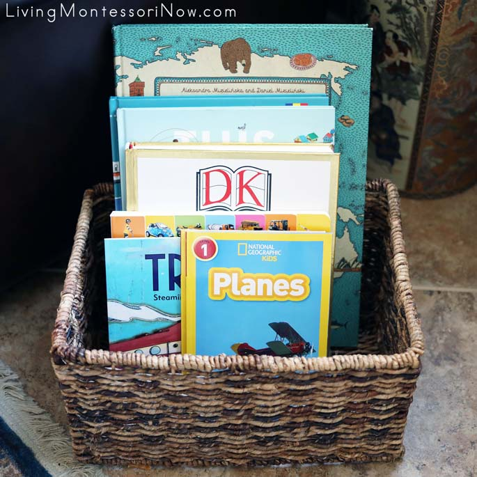 Montessori Book Basket with Transportation and Travel Books