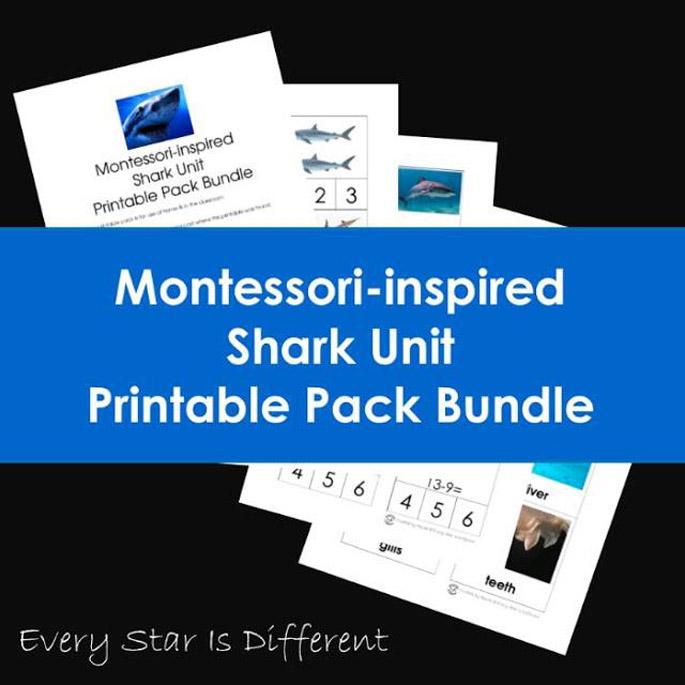 Montessori-Inspired Shark Unit Printable Pack Bundle