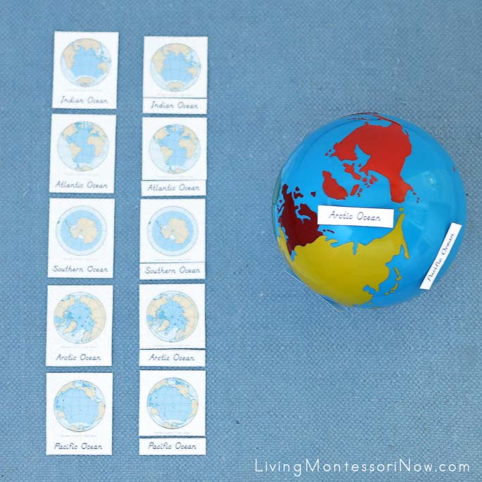 Ocean 3-Part Cards with Ocean Labels on Continents Globe