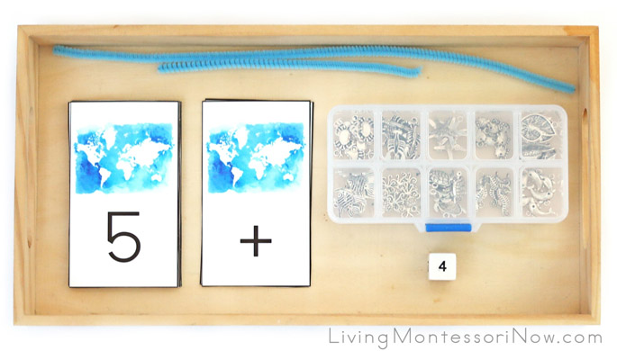 Ocean Charm Addition Using World Map Number Cards, Ocean Charms, and Chenille Stems