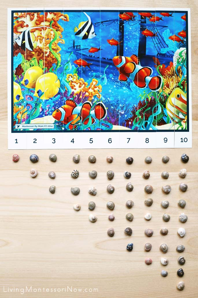 Free Printable Ocean-Scene Preschool Number Sequence Puzzle from Montessori By Mom