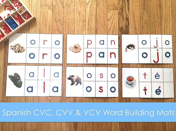Spanish CVC, CVV & VCV Word Building Mats by Escuelita Montessori at Etsy
