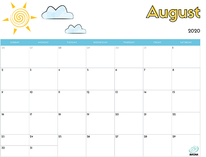 August 2020 Calendar from iMom